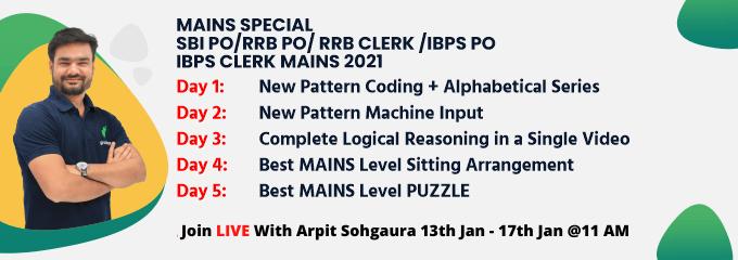 MAINS SPECIAL: SBI PO/RRB PO/ RRB CLERK /IBPS PO /IBPS CLERK MAINS 2021