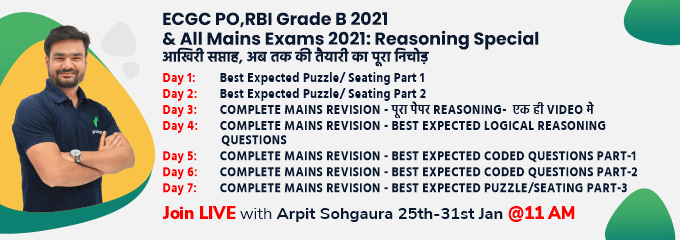 ECGC PO,RBI Grade B 2021 & All Mains Exams 2021: Reasoning Special