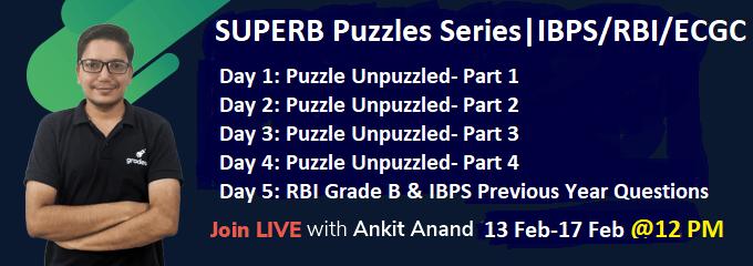SUPERB Puzzle Series for IBPS/RBI Grade-B/ECGC