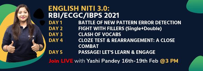 ENGLISH NITI 3.0: RBI/ECGC/IBPS 2021