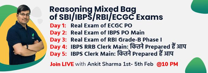 Reasoning Mixed Bag of SBI/IBPS/RBI/ECGC Exams