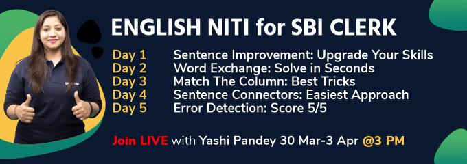 ENGLISH NITI for SBI CLERK
