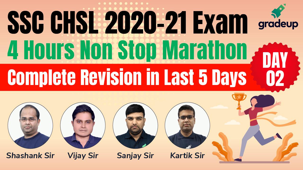 SSC CHSL 2020-21 | 4 Hour Non- Stop Marathon Classes Day 2 | Gradeup