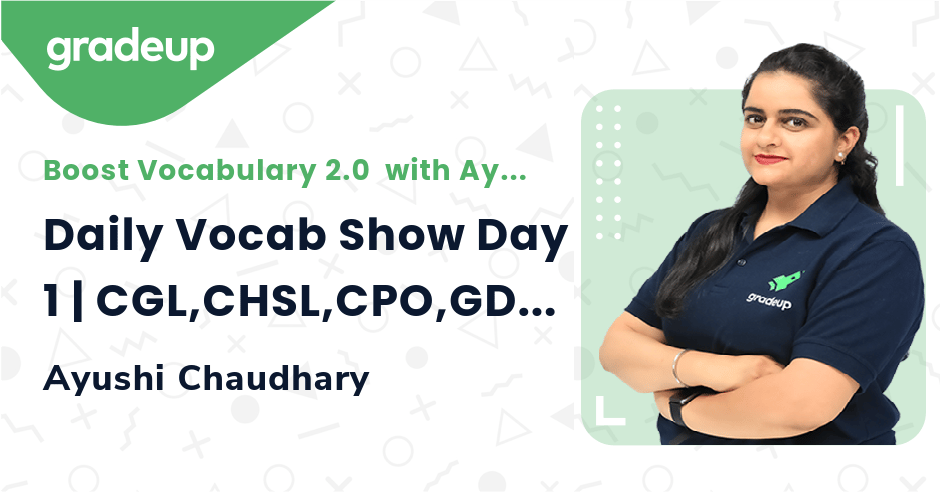 Daily Vocab Show Day 1 | CGL,CHSL,CPO,GD & MTS