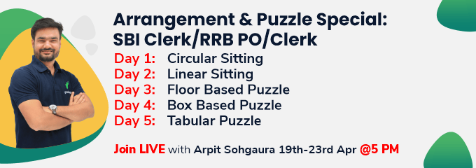 Arrangement and Puzzle Special: SBI Clerk/RRB PO/Clerk