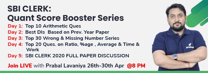 SBI CLERK: Quant Score Booster Series