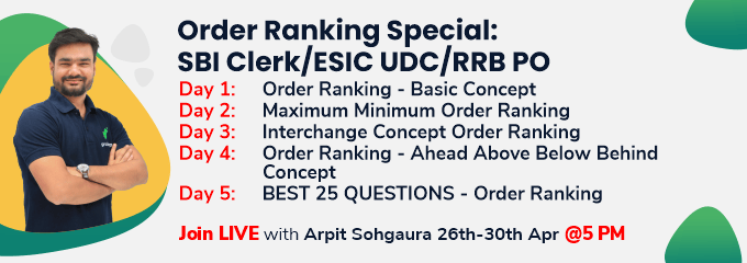 Order Ranking Special: SBI Clerk/ESIC UDC/RRB PO