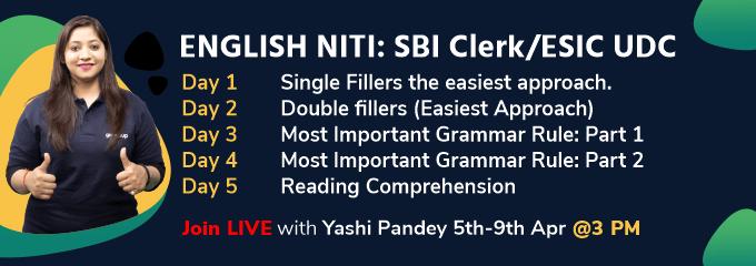 ENGLISH NITI: SBI Clerk/ESIC UDC