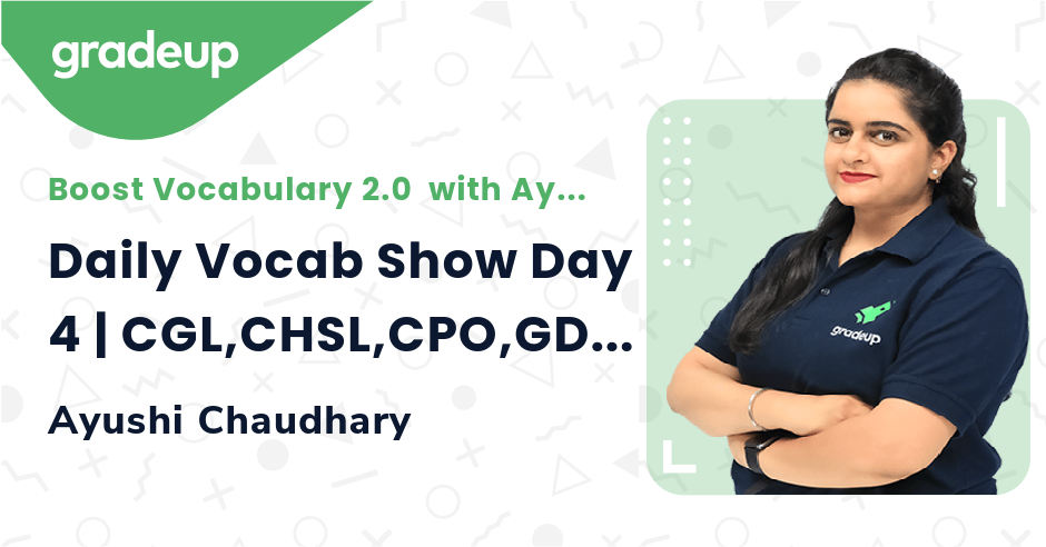 Daily Vocab Show Day 4 | CGL,CHSL,CPO,GD & MTS