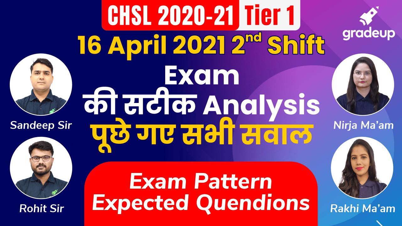 SSC CHSL 16 April 2021 Shift 2 Exam Analysis | सबसे सटीक Analysis