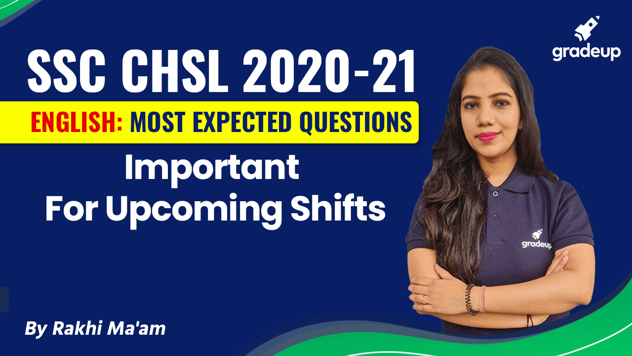 English Imp Questions for Upcoming Shifts   SSC CHSL 2020-21