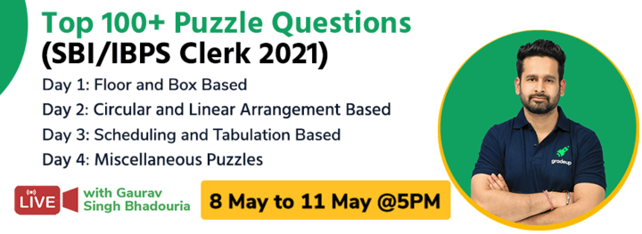 Top 100+ Puzzle Questions (SBI/IBPS Clerk 2021)