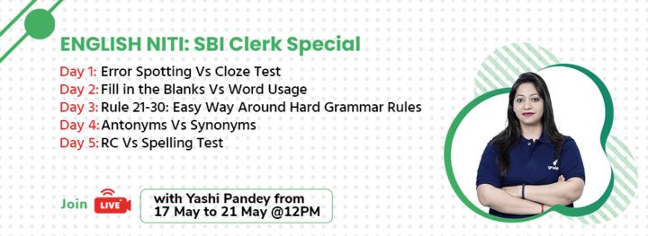 ENGLISH NITI: SBI Clerk Special