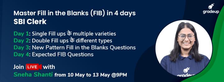 Master Fill in the Blanks (FIB) in 4 days: SBI Clerk